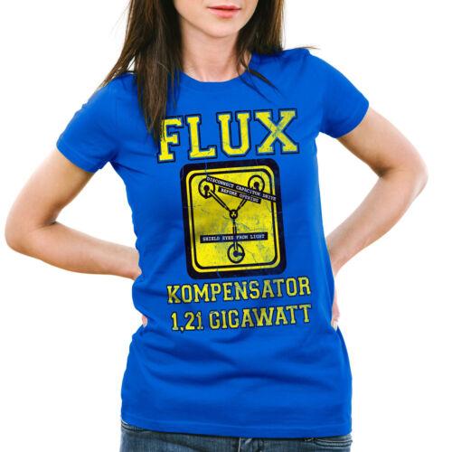 Flux Kompensator Damen T-Shirt Future Gamer Zukunft Zurück Zeitreise delorean
