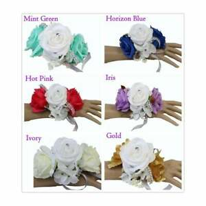 Wrist-Corsage-Rose-Hydrangea-Bling-prom-wedding-homecoming-Plum-Horizon-Coral