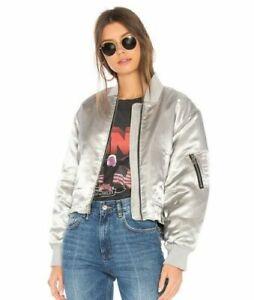Elizabeth and James Royan Bomber Jacket Metallic Silver Satin Zip Front Womens