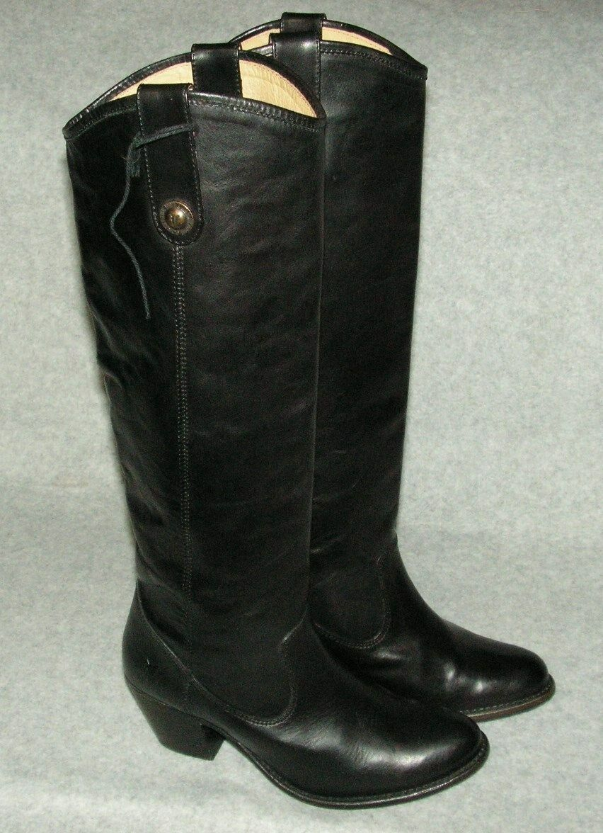 Frye Womens Jackie Button Riding  Leather Boots size 5.5     Black