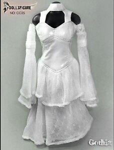 DOLLSFIGURE 16 Female White Wedding Dress Suit F 12 Action - Wedding Dress Suit