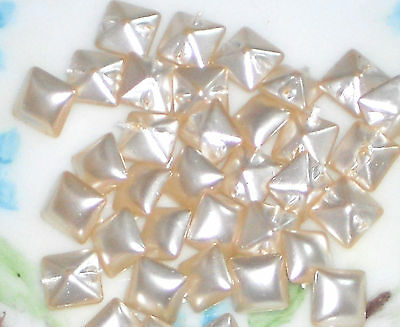 Cream Self Shank Square Pearl OLD Opalescent Doll #1475G Vintage Glass Buttons