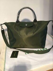 Image is loading Longchamp-Le-Pliage-Neo-Medium-Handbag-Moss-Green- 7f36c32f1b