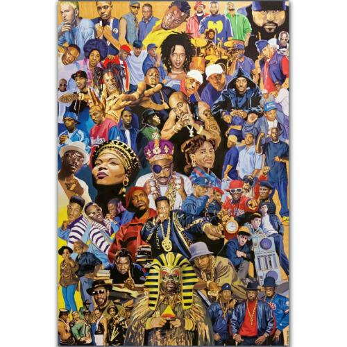 H-2430 Hip Hop Legends Rapper Music Singer Stars Collage Wall Silk Poster