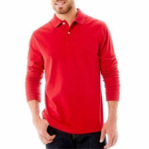 John/'s Bay Men/'s LS Cotton Polo Shirt S M L XL 2XL or 3XL Blue Red or Grey St
