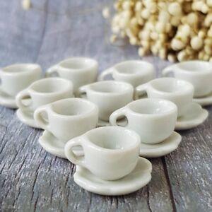 Dollhouse Miniatures Ceramic Coffee Tea Cup Set Mini White Beverage Supply Lot