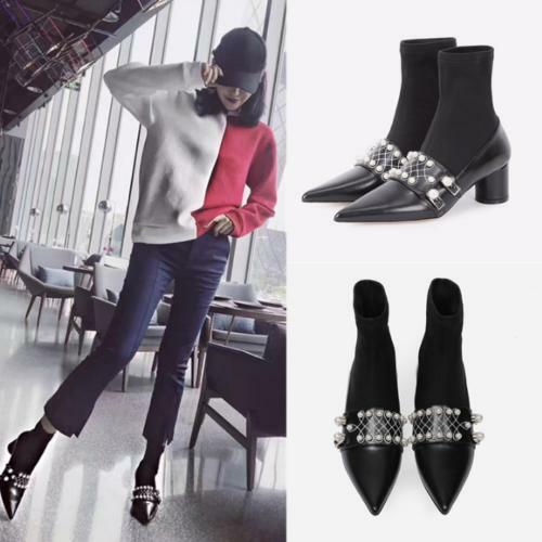 Womens Pointed Toe Faux Leather Ankle Boots Block Heels Pearls Chelsea Shoes sz