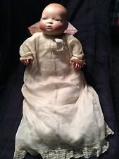 """Antique German Bisque Bye Lo 14"""" Baby w/Blue Eyes Grace Putnam Marked Gown"""