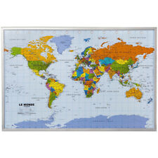 Framed pinboard map world school office flag pins atlas noticeboard item 4 world map atlastravel pinboard cork pin board poster 12 flag pins french 90 x 60 world map atlastravel pinboard cork pin board poster 12 flag pins gumiabroncs Image collections