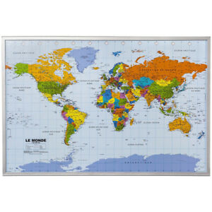 World map atlastravel pinboard cork pin board poster 12 flag pins image is loading world map atlastravel pinboard cork pin board poster gumiabroncs Choice Image