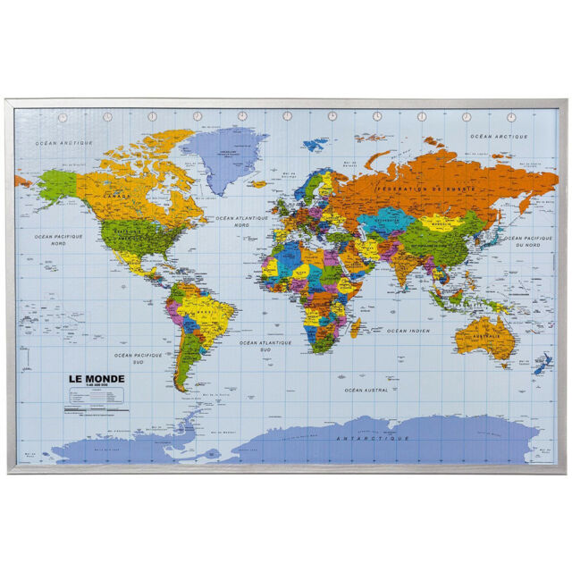 World Map Atlastravel Pinboard Cork Pin Board Poster 12 Flag Pins