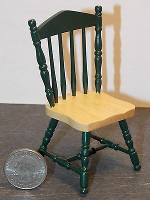 Dollhouse Miniature Kitchen Chair Metal Green Black 1:12 one inch scale Y17