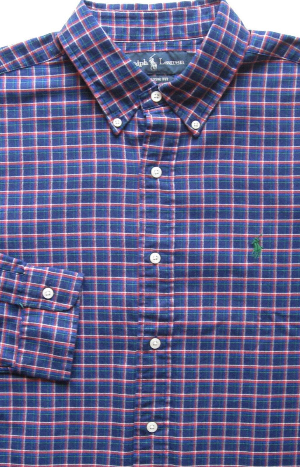 New  Polo Ralph Lauren Long Sleeve bluee Plaid Cotton Shirt   Large