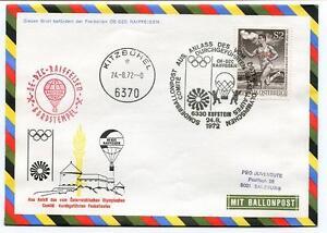 1972 Sonder Ballonpost Olimpiadi Pro Juventute Aerostato Oe-dzc Raiffesen