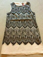SEXY DARLING ELODIE NUDE BLACK LACE FRONT TUNIC TOP SHORT DRESS SIZE L 14 BNWT