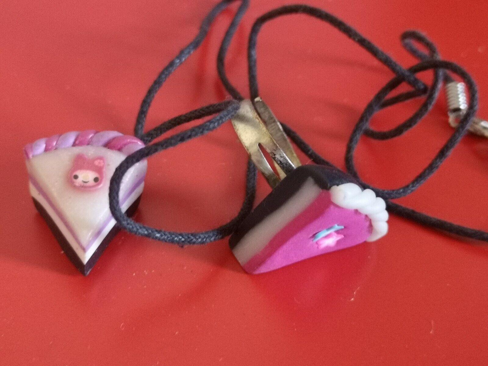 CUTE GIRLY HANDMAFE CAKE NECKLASE AND RING/JEWELLERY /teen gift idea