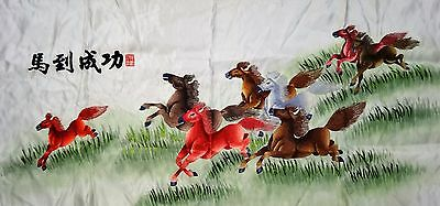 Handwoven Silk Chinese Embroidery - 8 Horses (106 cm x 46 cm) #1