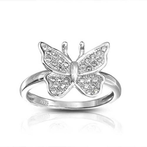 Jardin Insecte Sterling 925 Argent MICRO CZ Nature Butterfly Ring Band