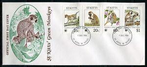 IndéPendant Saint-christophe - 1986 Wwf Singes Monkeys Pays-fdc First Day Cover-afficher Le Titre D'origine MatéRiaux De Qualité SupéRieure
