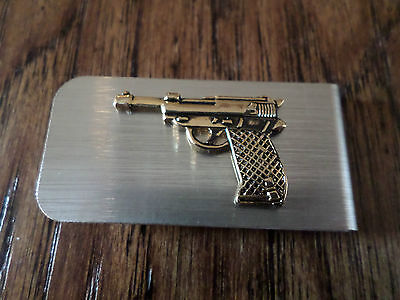 45 AUTOMATIC HAND GUN TIE BAR TIE TAC COLT 45 AUTO ON GOLD COLOR BAR U.S.A MADE