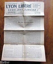 Journal LYON LIBÉRÉ N° 1 Dimanche 3 septembre 1944