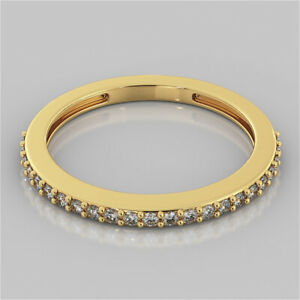 0.51 Ct Round Moissanite Engagement Eternity Band Solid 18K Yellow Gold Ring 7 8
