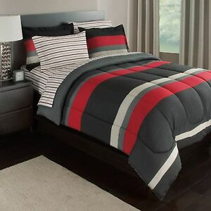 Black Gray Red Stripes Boys Teen Queen Comforter Set 7