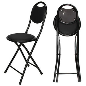 Image is loading Black-Padded-Folding-High-Chair-Breakfast-Kitchen-Bar-  sc 1 st  eBay : folding kitchen bar stools - islam-shia.org