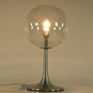 Tisch Lampe Tulpen.-Trompeten Fuß Alu & Glas Beistell Leuchte Vintage 60er 70er