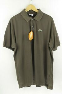 Mens-LACOSTE-Polo-Shirt-DEVANLAY-SPORT-Short-Sleeve-BROWN-Size-6-Large-P48