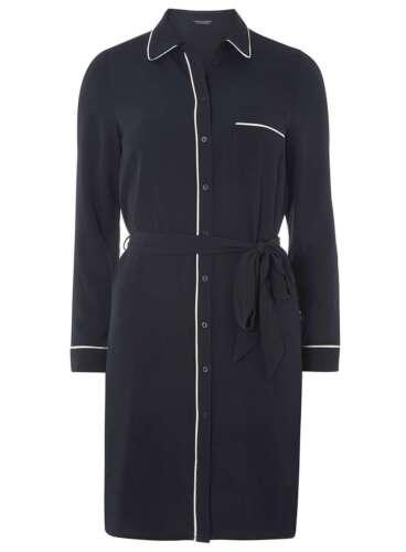Nouveau Ex Dorothy Perkins Bleu Marine ceinturée Robe Chemise Tailles 12-22