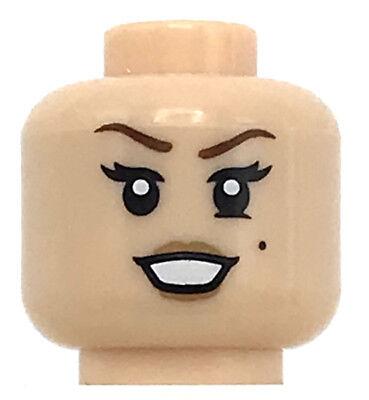 LEGO NEW LIGHT FLESH MINIFIGURE HEAD WHITE SMILE GIRL EYELASHES BEAUTY MARK PART