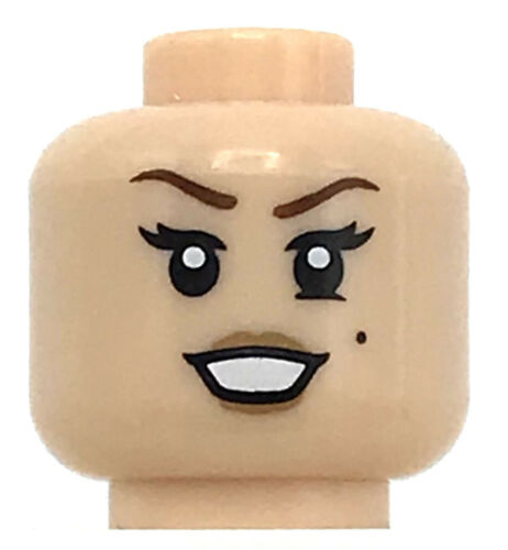 LEGO NEW LIGHT FLESH MINIFIGURE HEAD WHITE SMILE GIRL EYELASHES BEAUTY MARK PART