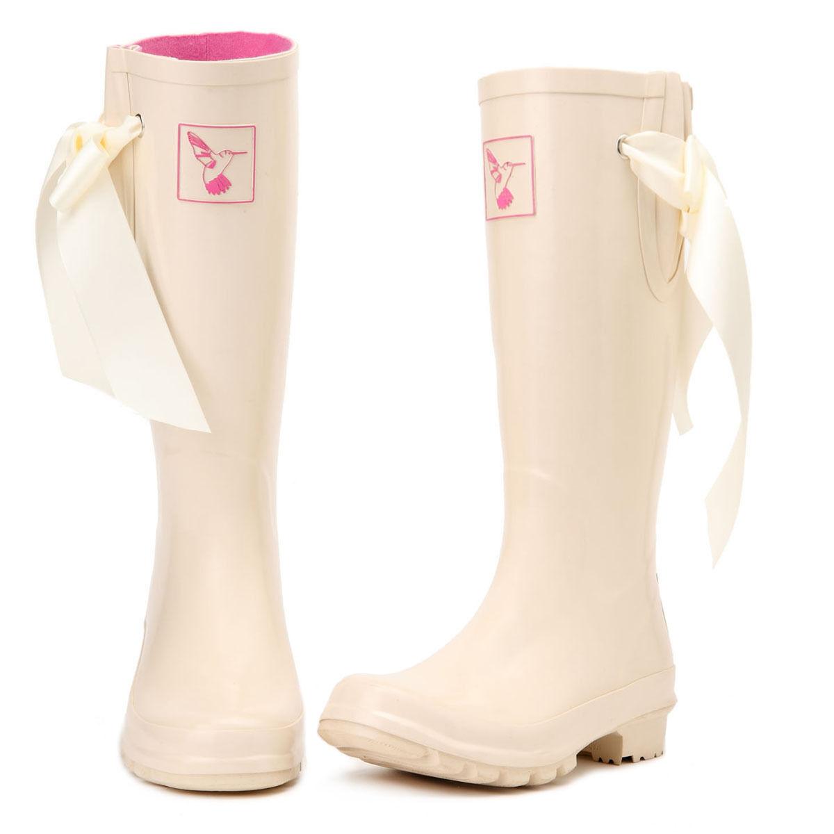 Evercreatures Knee-High Boot Rubber Milky Wedding Rain Boots Wellies