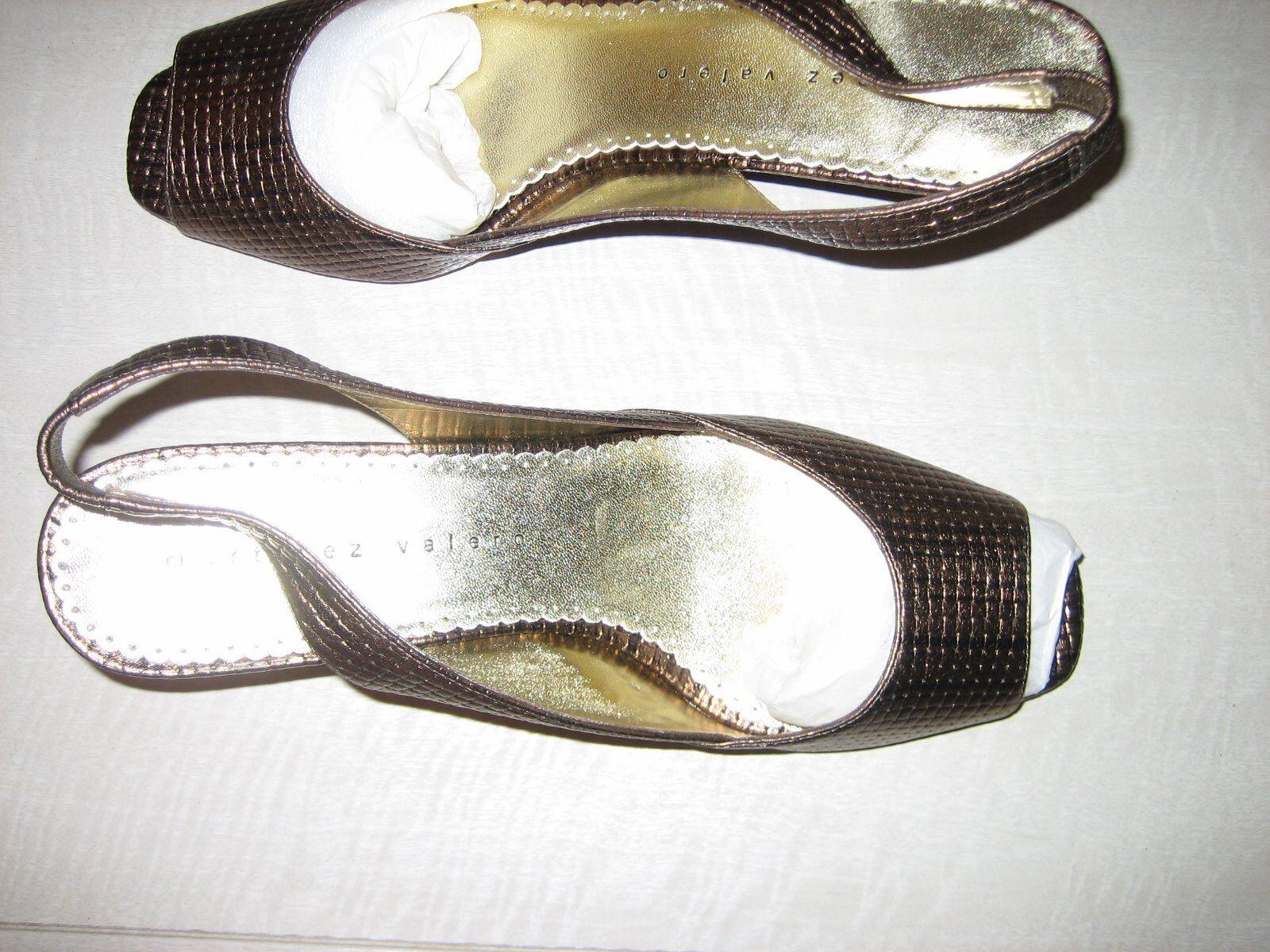 Martinez Valero woven bronze Leder never contouROT wedge - New never Leder been worn eb5222