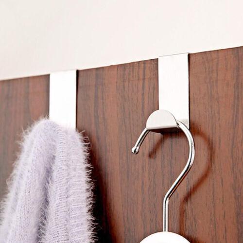 2 X Stainless Steel Metal Over Door Hooks for Clothes Coat Robe Hangers UWUK