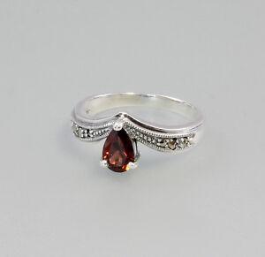 9903079-925er-Silber-Ring-mit-Markasiten-und-Granat-Gr-54