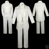 Boys Teens Wedding Formal Party Peak Lapel Ivory Tuxedos Suits Size:14 16 18 20