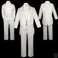 Boys Teens Wedding Formal Party Peak Lapel Ivory Tuxedos Suits Size:14 16 18 20
