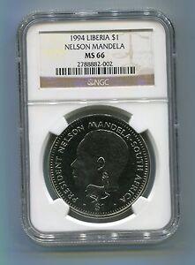 NGC-Certified-MS-66-Liberia-1994-Nelson-Mandela-1-Rare-Coin-Tata-Madiba
