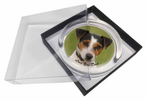 Jack Russell 'Love You Dad' Glass Paperweight in Gift Box Christmas Pr, DAD60PW
