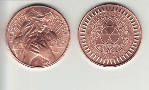 Copper Round Coin  from Silver Shield  2016 PEACE COMES FROM WITHIN    1 oz