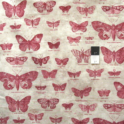 Tim Holtz PWTH004 Eclectic Elements Butterflight Red Cotton Fabric By Yard