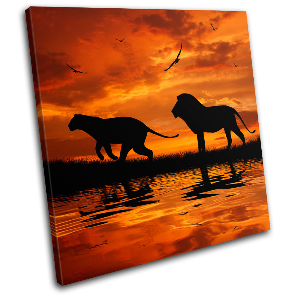 Lion african sunset animals single toile wall art photo print