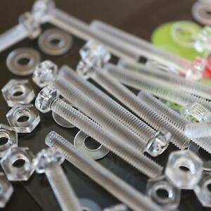 60-x-Acrilico-Bulloni-e-Dadi-M3-x-25mm-in-Plastica-Trasparente-Acrilico-Viti