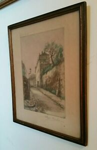 Antique-French-Etching-Le-lapin-Agile-Montmartre-Street-Pencil-Signed-by-Artist