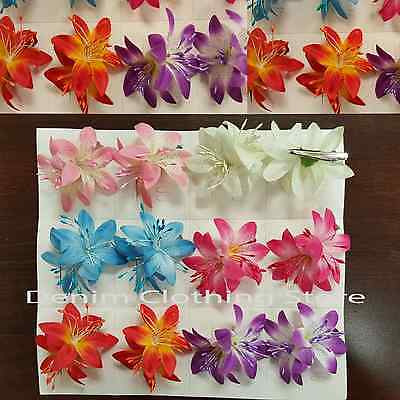 12pcs Orchid Flowers Hair Clips Pin Bridal Wedding Party Hawaii Accessories 2.5""