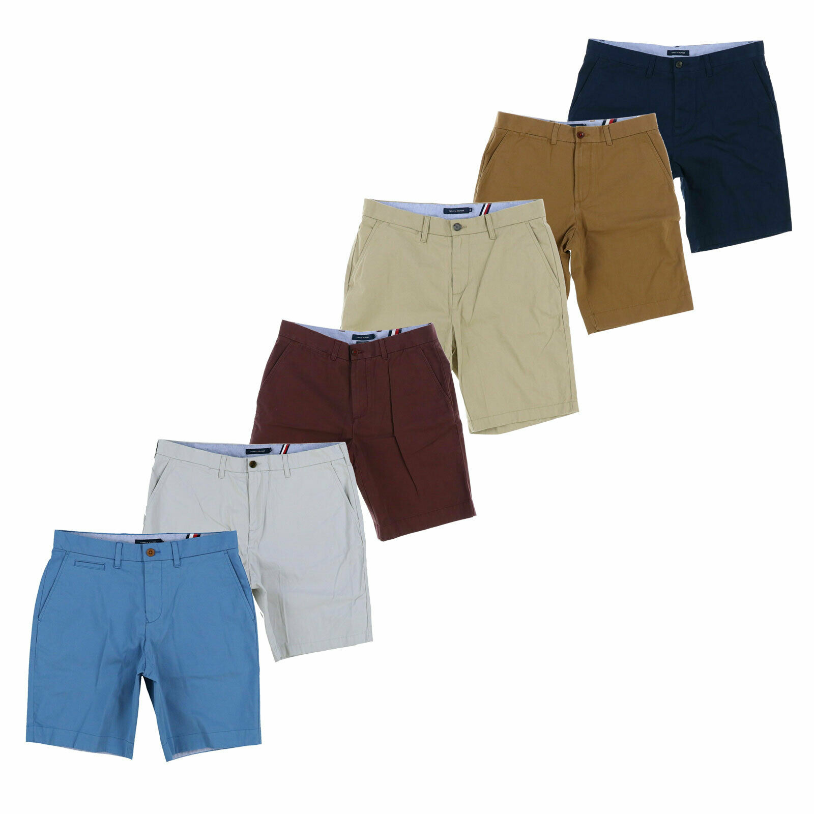 Tommy Hilfiger Chino Shorts Mens Flat Front Logo Bottoms Classic Custom Fit New