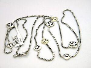 David-Yurman-36-034-DY-Logo-Chain-Necklace-14k-Gold-Sterling-SIlver-NWT