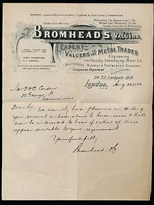 gb 1922 fancy letterhead bromheads valuers metal trade ebay